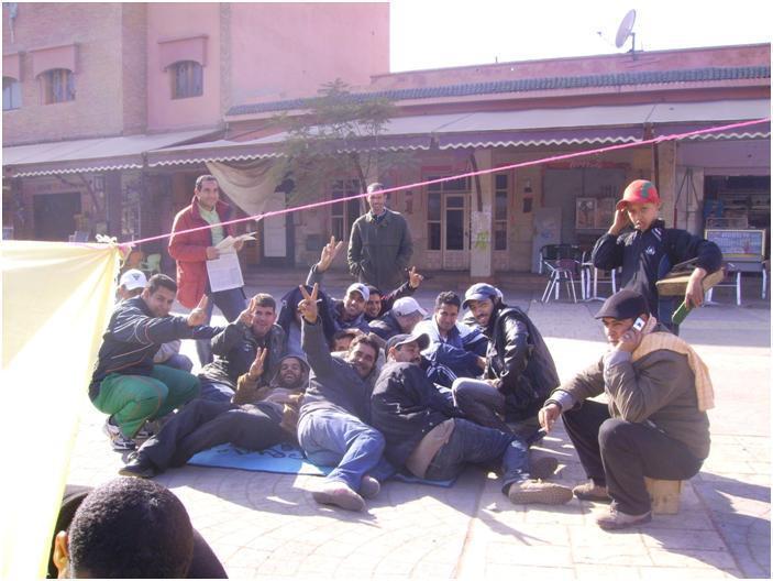 اعتصام  المعطلين بمدينة ابن جرير مستمر