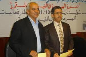 د فؤاد مع د.حبيب نصري مدير مهرجان خريبكة الوثائقي وكلاهما قادم من العلوم الإنسانية