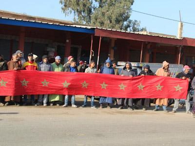 احتجاجات ساكنة جماعة بوشان إقليم الرحامنة بسبب إعادة الهيكلة.