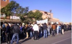 الطلبة الجامعيون باقليم الرحامنة في مسيرة احتجاجية سلمية نحو عمالة الاقليم